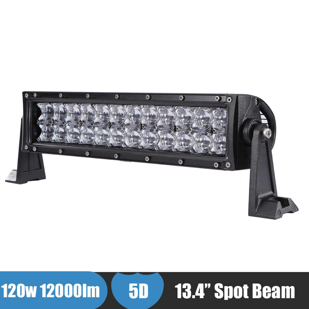 13 Inch 120W 5D Offroad LED Light Bar Spot Beam Boat Pickup Car ATV Driving Light for Yamaha Grizzly 700 Polaris Sportsman XP1K