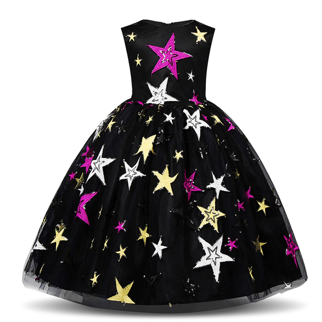 Fancy Cosplay Princess Dresses For Wedding Halloween Party Costume Kids Party Birthday Print Star Dress Girls Holiday Clothes