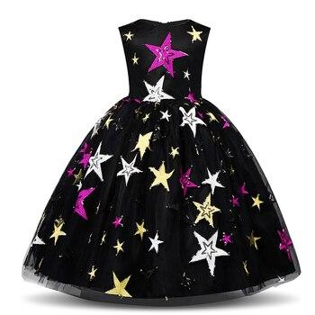 Mewah Cosplay Putri Gaun untuk Pernikahan Pesta Halloween Kostum Anak-anak Pesta Ulang Tahun Cetak Bintang Gaun Pakaian Liburan