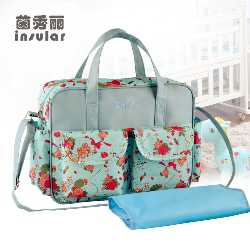 Hot Sale Fashion Large Capacity Baby Diaper Bag  Stylish Fresh Mommy Bag Waterproof Nylon Baby Bag