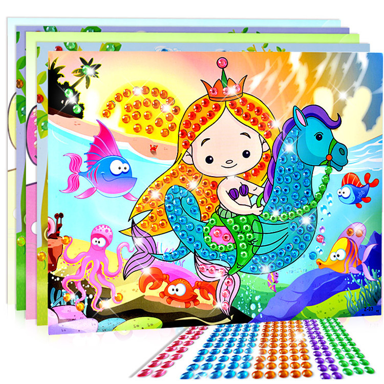 10pcs/set Diy Diamond Stickers Handmade Crystal Paste Painting Mosaic Puzzle Toys Random Color Kids Child Stickers Toy Gift