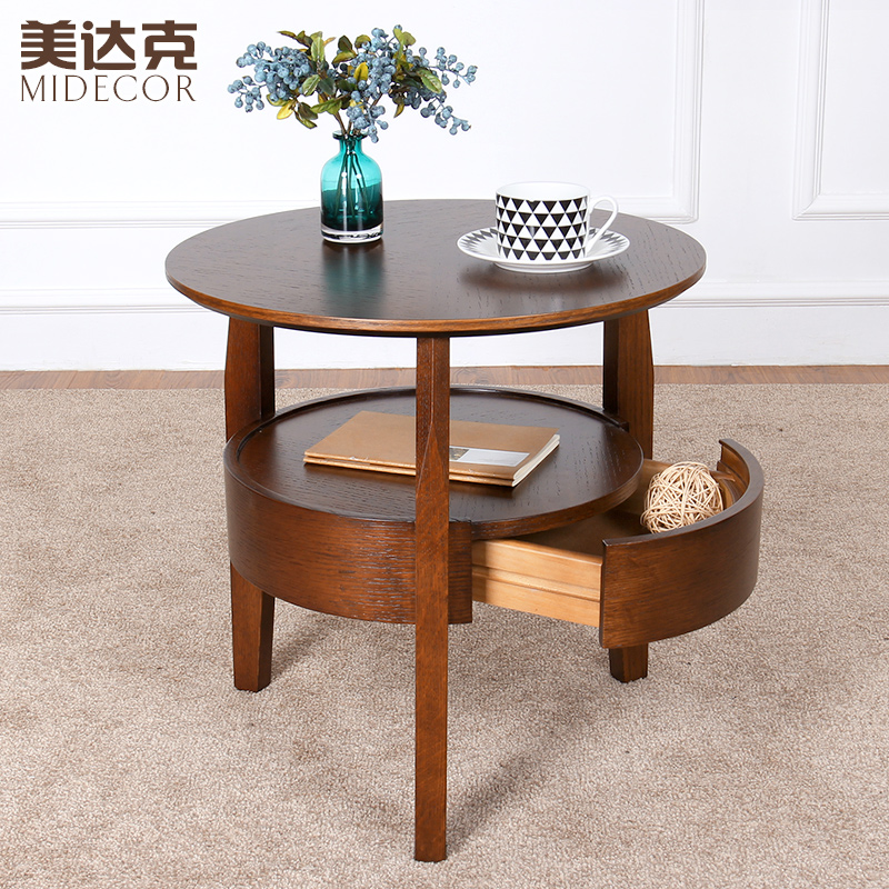Small round table wooden coffee table minimalist living room sofa side tables with drawers tea Round coffee table in living room
