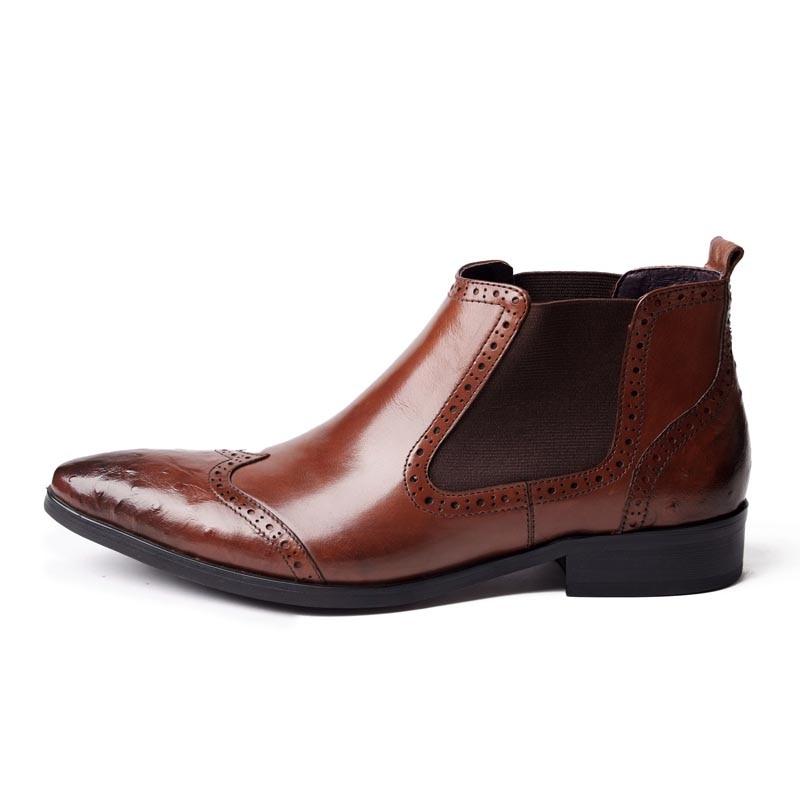 a050939672961 Hombre Genuino Zapatos Brogue black Marca Brown Italiano En Cuero Chelsea  Invierno Retro Los Botas Calzado De Hombres La Fiesta Deslizamiento Boda  0nqPU8