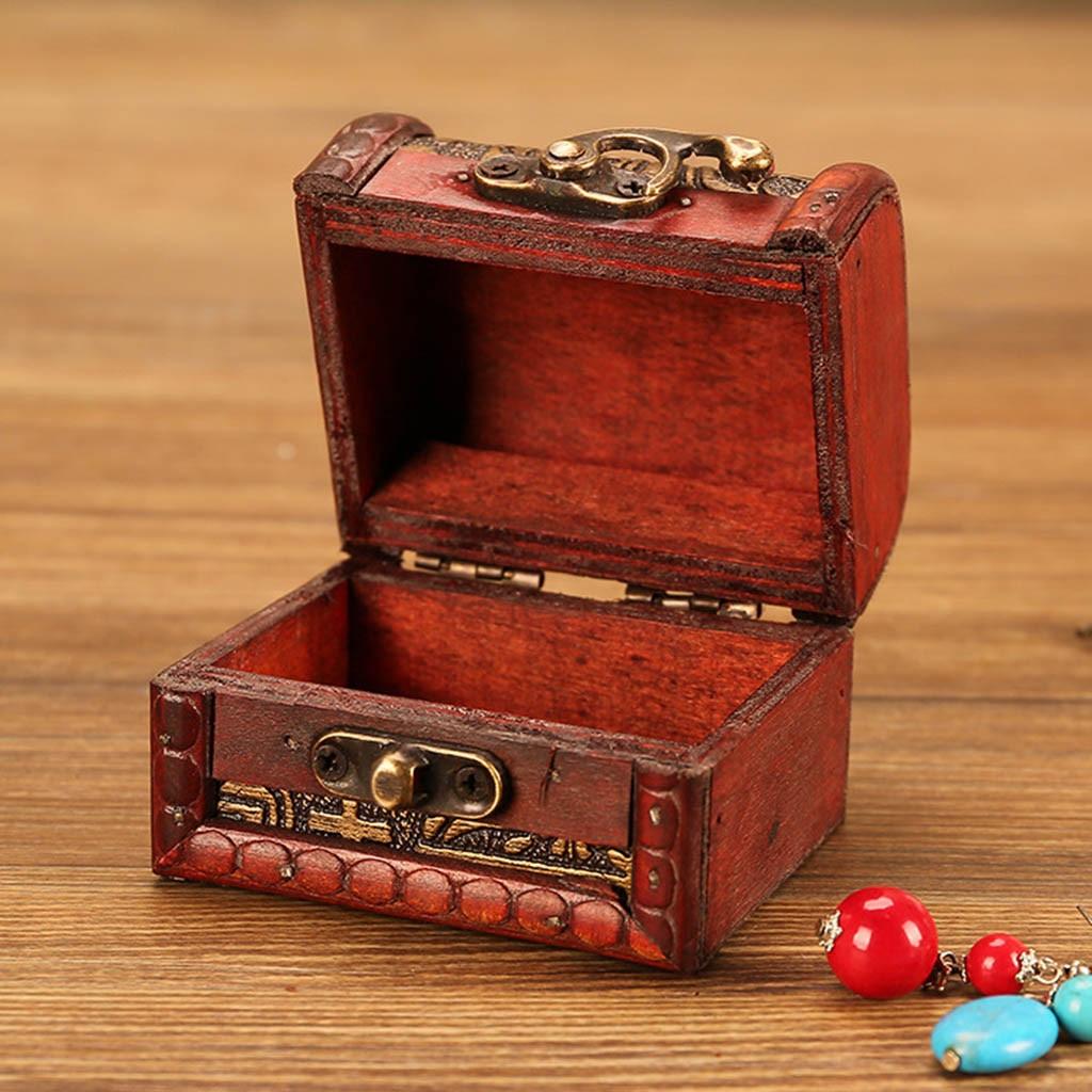 Jewelry-Box Display-Stand Metal-Lock Storing Wood Treasure Pearl Vintage Mini With