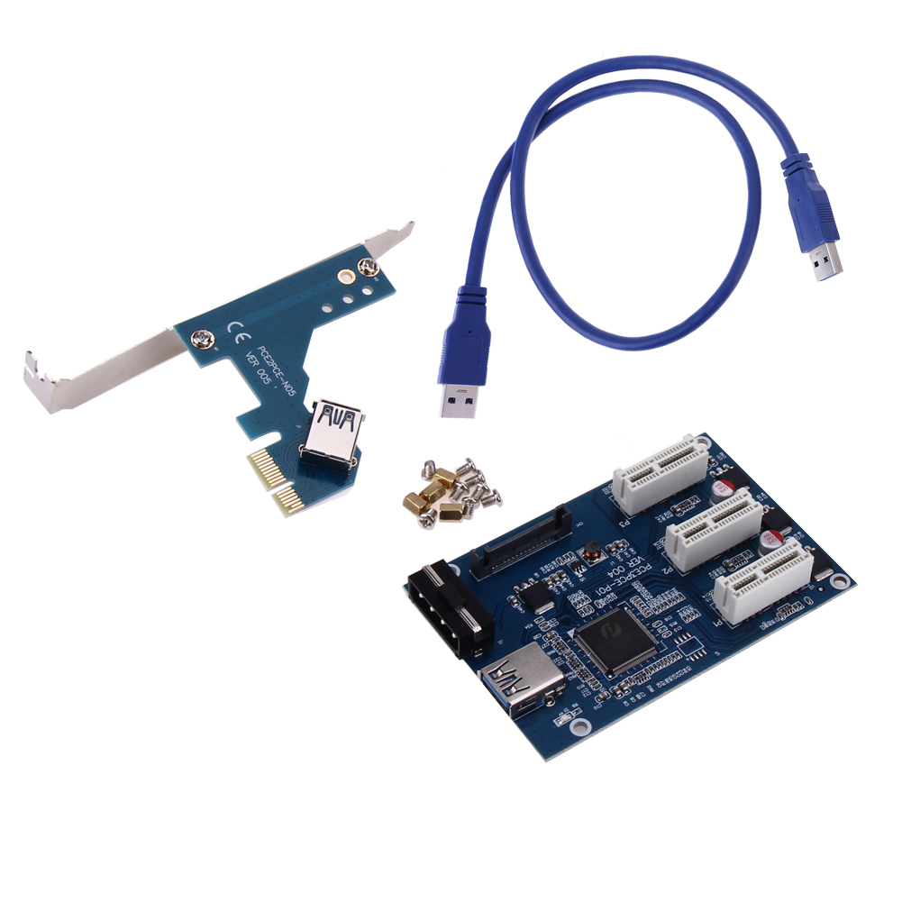 цены  3 in 1 PCI Express PCI E 1X slots Riser Card Expansion Adapter PCI-E Port 2 Layer PCB Board High Speed USB 3.0 Cable for Mining