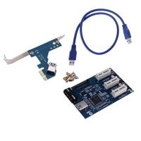 3 In 1 PCI Express PCI E 1X Slots Riser Card Expansion Adapter PCI E Port