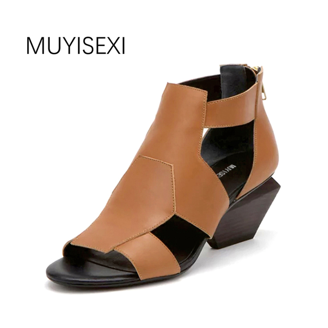9c7f1f314d6 Gladiator Sandals Women Genuine Leather Designer Sandals Strange Square  Heel Women Sandals Gray Black Brown HL45 MUYISEXI