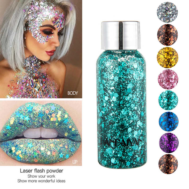 Eye & Body Festival Shimmer Body Gel 9 Colors Face Glitter Shadow Festival Party Eye Makeup Loose Sequins Eyeshadow Hair Glitter