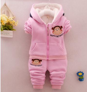 Kids Clothes Baby Boy Winter Clothes 1 2 3 Years old Baby Plus Velvet  Hooded Coat Thickening Cotton Infant Baby Set QHD003 2pcs set baby clothes set boy