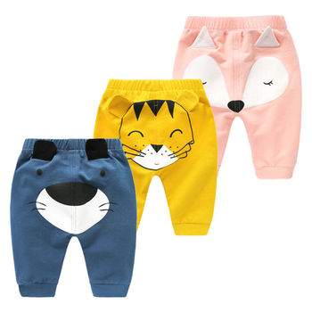 3pc/lot Casual Toddler Bottoms Pants Hot Infant Cartoon Harem Pants Baby Boy Baby girl Animal Trousers 3 color 95% Cotton Baby Pants