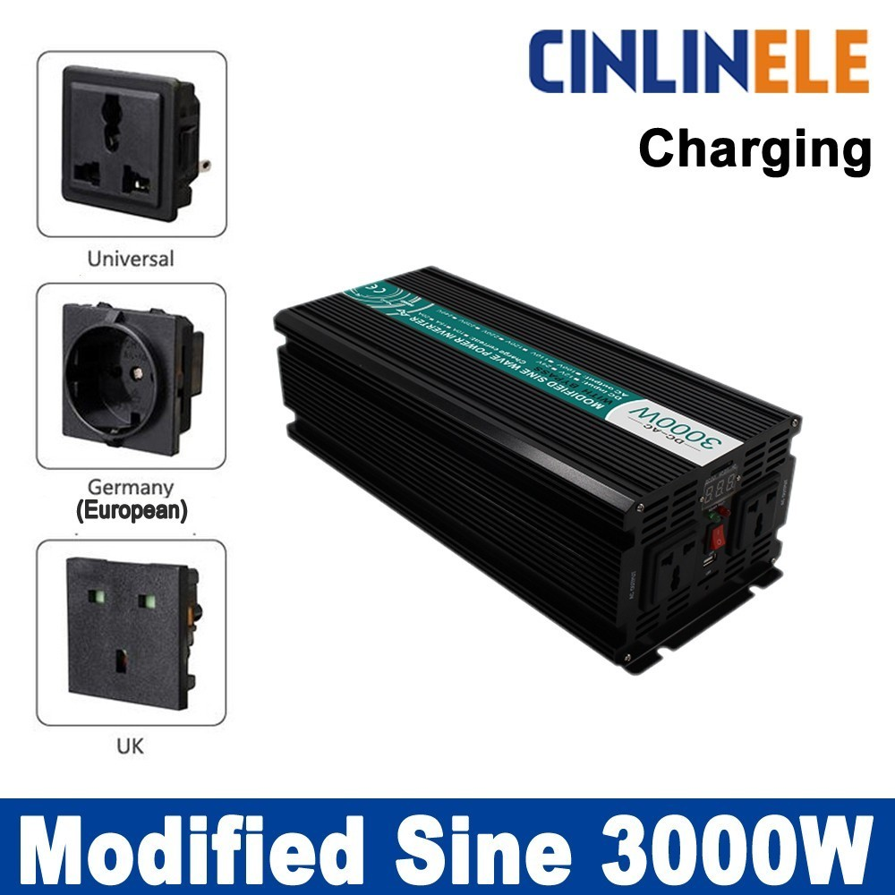 Smart Inverters Charger 3000W Modified Sine Wave Inverter CLM3000A DC 12V 24V 48V to AC 110V 220V 3000W Surge Power 6000W