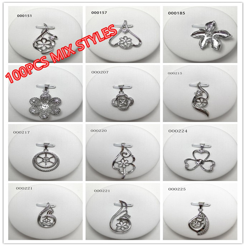 100PCS MIX STYLES Pendant Mountings Findings Pendant Base Settings Jewelry Parts Fittings for Edison Pearls Corals