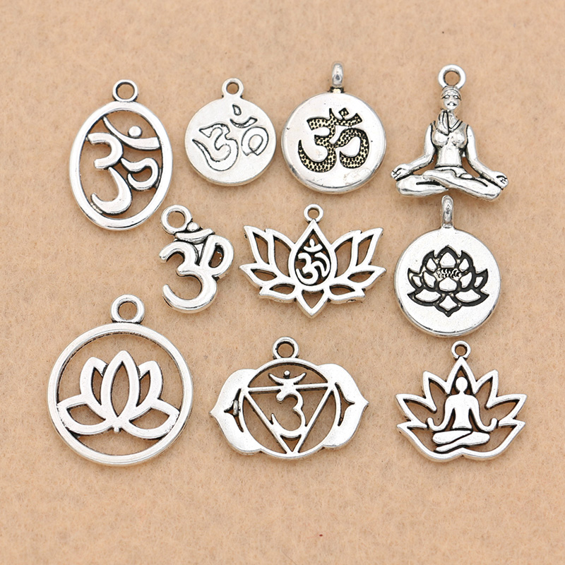 Mixed Tibetan Silver Plated Yoga OM Charm Pendants Jewelry Accessories Bracelet Jewelry Findings DIY 10pcs/lot