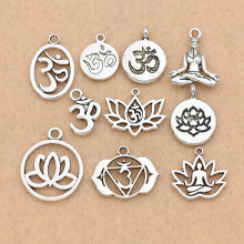 Mixed Tibetan Silver Plated Yoga OM Charm Pendants Jewelry Accessories Bracelet Jewelry Findings DIY 10pcs/lot(China)