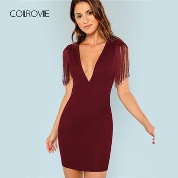 be0659762 COLROVIE Borgoña cuello en V flecos adornado vestido de fiesta mujeres 2018  Vintage sin mangas Mini vestido Sexy Bodycon señoras vestidos