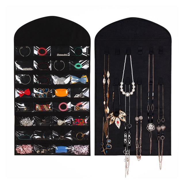 Dual Sides Jewelry Organizer Hanging Storage Bag Earring Rings