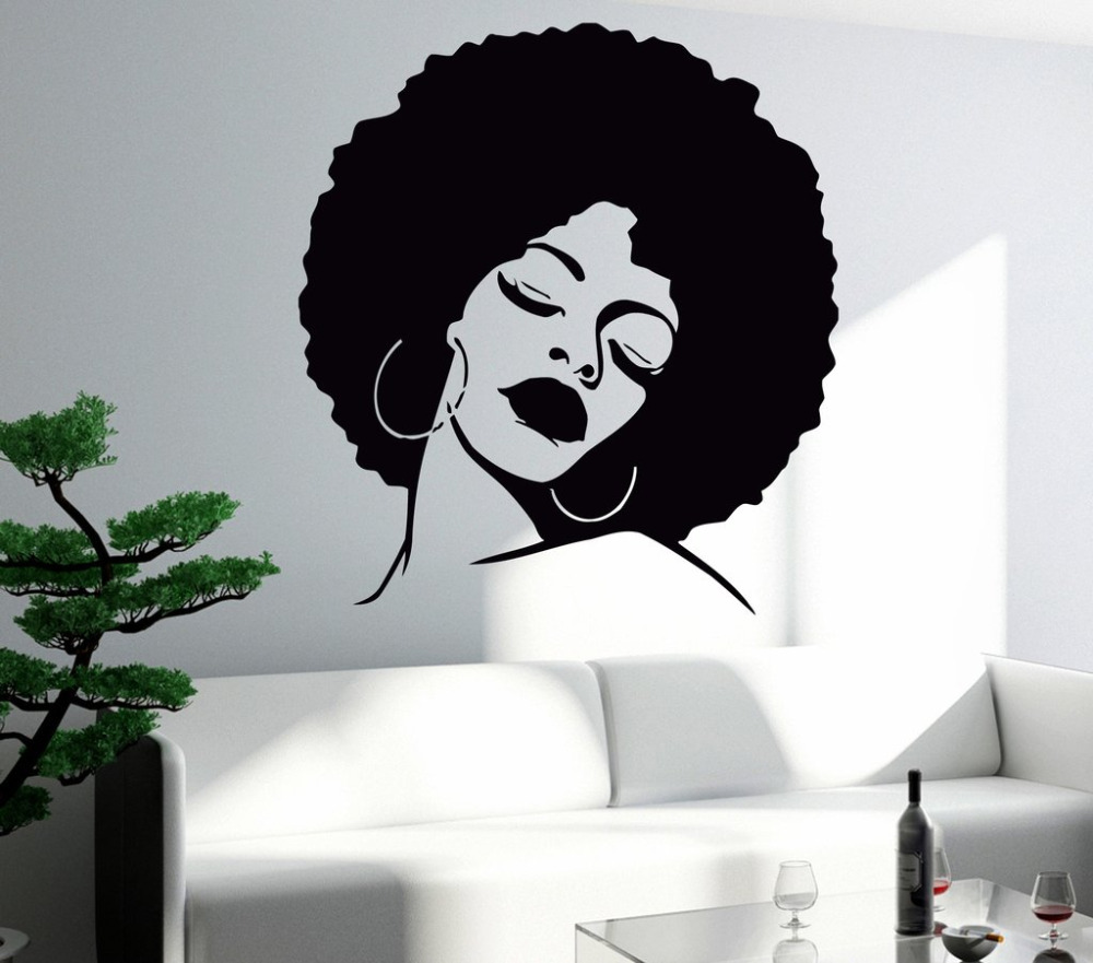 Fashion Black Lady Wall Stickers Vinyl Wall Decal Large