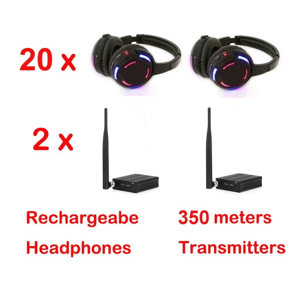 500 m distância Profissional Discoteca Silenciosa 20 LED Fones De Ouvido com 2 transmissores-RF Sem Fio Para DJ clube partido reunião transmissão