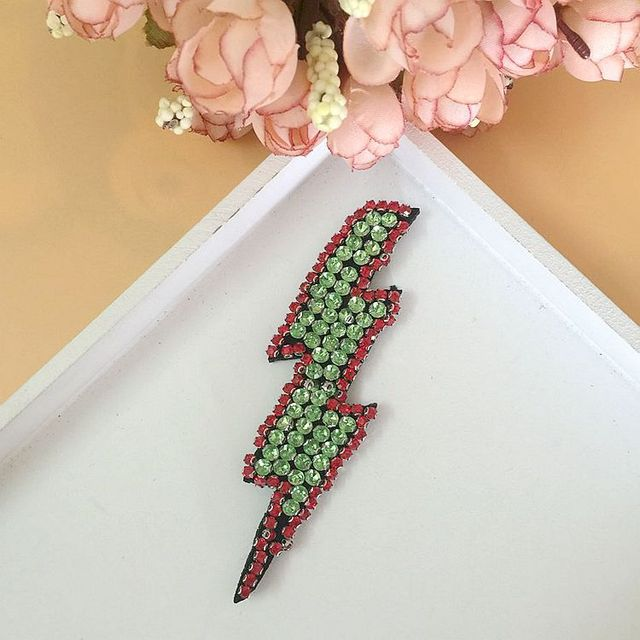 1 pcs lightning Patch for Clothes Sewing on Rhinestone Beaded Applique for Jackets  Jeans Bags Shoes f1a8953ec270