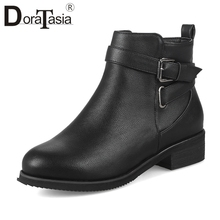DoraTasia New 32-48 Autumn Winter Mature Black Booties Ladies Concise OL Ankle Boots Women 2019 Low Heels Shoes Woman
