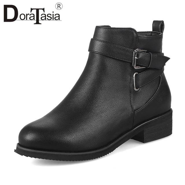 DoraTasia New Arrival jesień zima buty damskie klamra dekoracji 3.5 cm Med masywne obcasy buty buty damskie kobieta 32-48