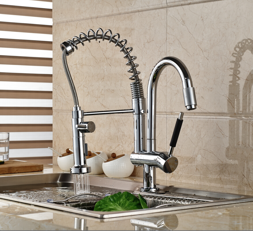Classic Deck Mount Single Handle Double Spout Kitchen Mixer Faucet with Hot Cold Water Chrome Finished