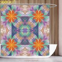 Stylish Shower Curtain 3D Fractal Decor Kaleidoscope Style Digital Print Mosaic Tile Art With 3D Effects