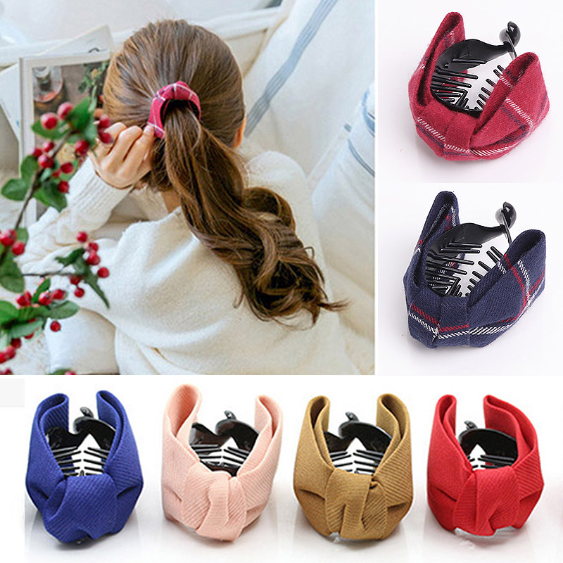 Fashion 10Colors Solid Grid Big Bows Ties Ponytail Women Brief Promotional Hair Claws For Girls Banana Hairpins Accessories