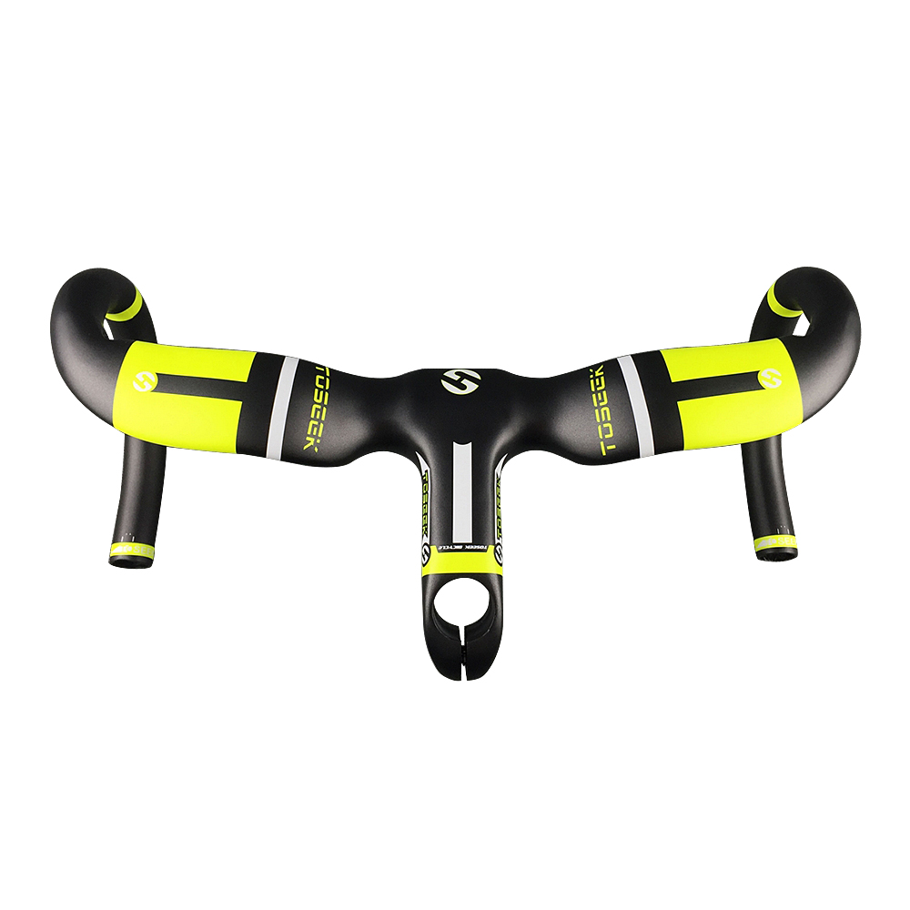 TOSEEK Full Carbon Handlebar Bicycle Bent Bar Yellow With Stem 80/90/100/110/120mm For Racing Road Bike 400/420/440mm Handlebars