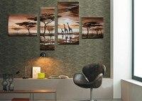 Ręcznie malowane 4 sztuka nowoczesna krajobraz obraz olejny na płótnie wall art Afryki giraffe zdjęcie do dekoracji wnętrz wyjątkowy prezent