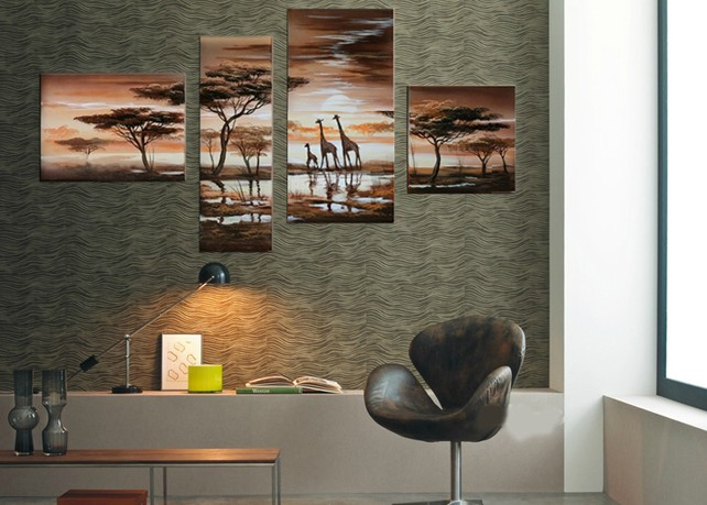 handpainted 4 piece modern landscape oil painting on canvas wall art African giraffe picture for home decoration unique gift