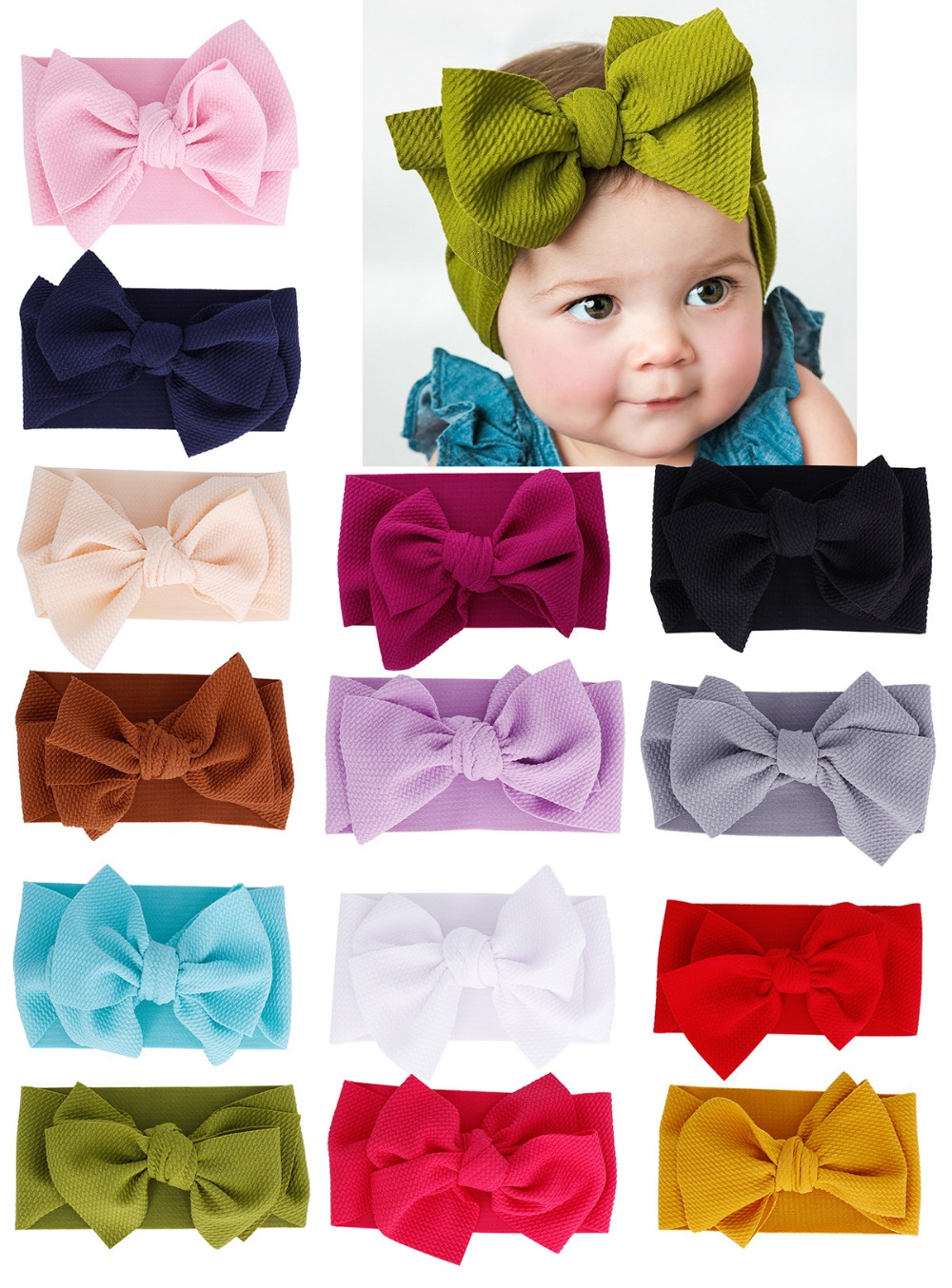 2019 Large 7inch Bow Girls Headband Oversized Bowknot Headwrap Kids Cotton Adjustable Turban Headband Girl s
