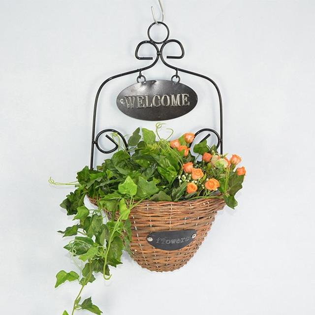 AsyPets Welcome Decorative Wicker Woven Wall Hanging Basket Plant Hanger  Flower Holders Home Garden Wall Wedding
