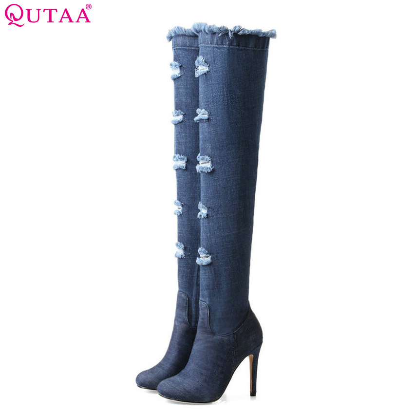 QUTAA 2018 Women Over The Knee High Boots Denim Thin High Heel Round Toe Fashion Zipper Westrn Style Women Boots Size 34-43 qutaa 2018 sexy over the knee high women boots thin high heel round toe platform fashion ladies pu leather boots size 34 43