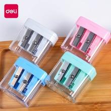 Deli 1pcs Double Holes Plastic Pencil Sharpeners Candy Color Transparent Standard Cutting Machine 0576