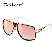 cedef740a4a6d8 Dollger Mode lunettes de Soleil Hommes Marque Conception Vintage Carré 2016  lunettes surdimensionné Lunettes miroir lunettes de .