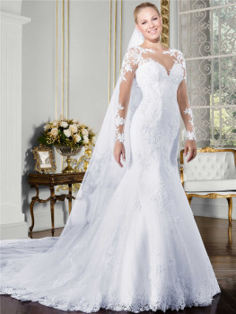 Sheer O-neck Long Sleeve Mermaid Wedding Dress 2019 See Through Illusion Back White Bridal Gowns with Lace Appliques 2