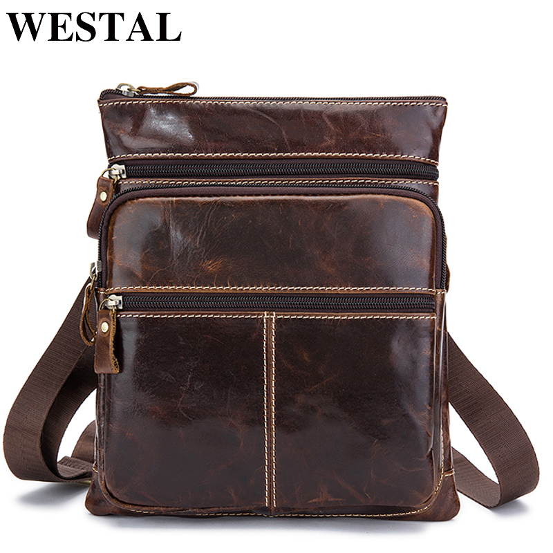 WESTAL Male Bags Genuine Leather Messenger Bag Men Phone ipad Flap Vintage Crossbody Bags for Men Leather Shoulder Bag Man westal casual messenger bag leather men shoulder crossbody bags for man genuine leather men bag small flap male bags bolsa new