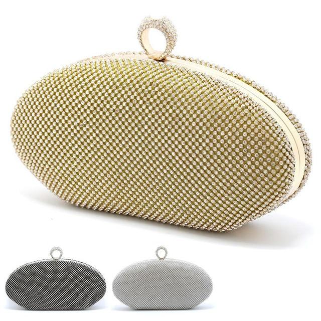 New 1Pc Wedding Handbag Women Evening Clutch Bag Crystal Rhinestone Purse Wallet