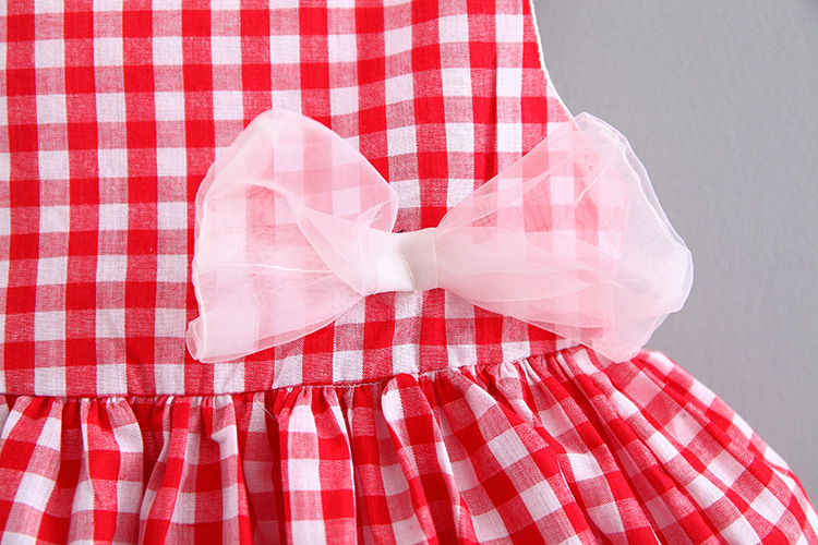 2018 Summer Toddler Baby Dress Dress Princess Dress Child Plaid Bow Tutu 0-2 Sleeveless Dress up for gir Dress Free Shipping