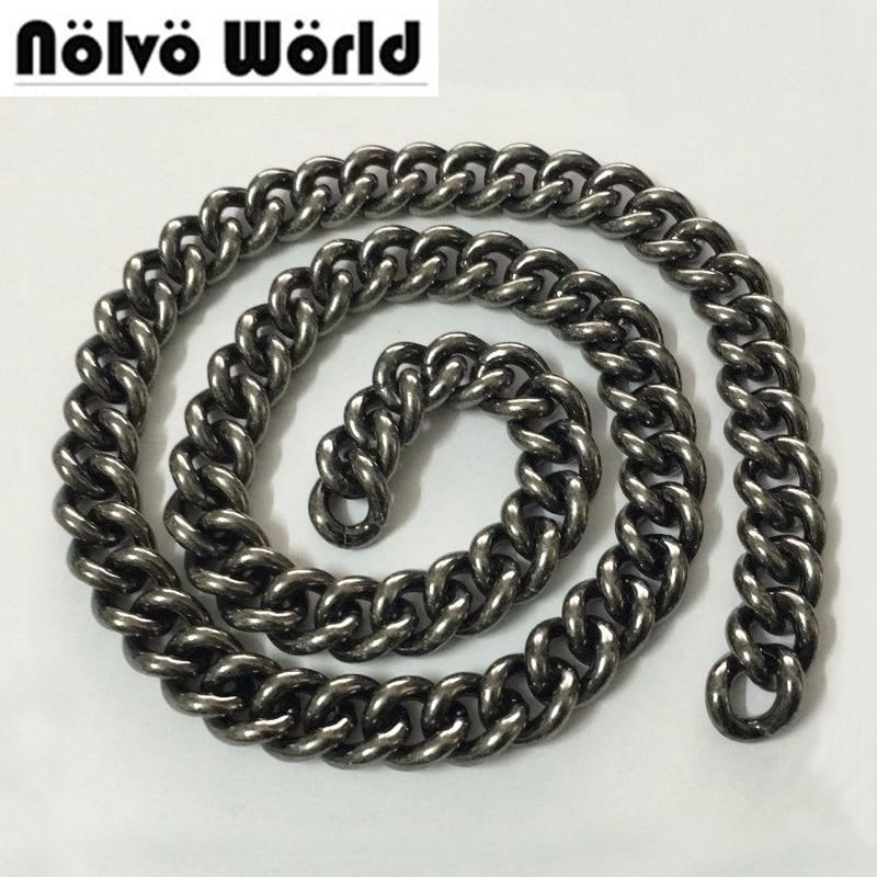 1pc 60cm 80cm 100cm 110cm 120cm 130cm 17mm Wide Alum Chain Antique Silver Color Roller chains for bags long strap replacement