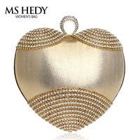 Heart Shape Luxury Rhinestones Women Evening Bag Bracelet With Shouder Chain Lady Hand Bag Finger Ring