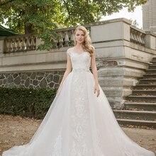 Loverxu Иллюзия съемный шлейф кружева винтажные Свадебные платья роскошные аппликация нанизанного пояса линии свадебное платье плюс размер