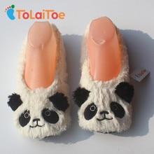 ToLaiToe 2017 heißer verkauf niedlichen panda warme weiche sohle frauen boden hausschuhe / schuhe binden flanell hausschuhe
