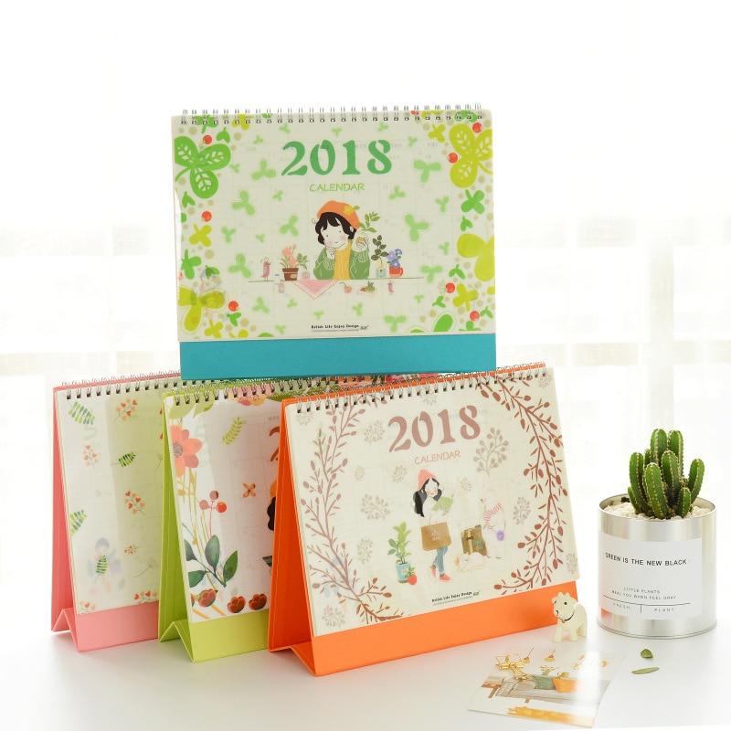 2018 Diy Print Flower girl Desk Calendar Desktop To Do List Daily Planner Book Office Desk Supplies Standing School Korean