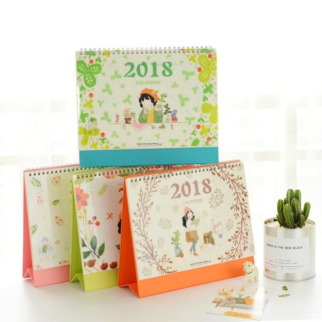 2018 Diy Print Flower Girl Desk Calendar Desktop To Do