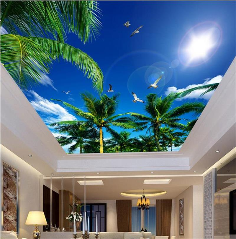 3d ceiling wallpaper custom photo mural non-woven wall sticker Coconut tree sky clouds birds painting room wallpaper for wall 3d mural wallpaper 3d home decoration cherry trees 3d wallpaper living room ceiling non woven wallpaper ceiling