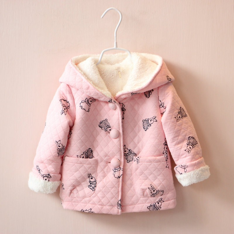 BibiCola Autumn Winter Children Cartoon Rabbit Pink Clothing Baby Girls Jacket Coats Thick Cute Hooded Jacket Kids Outerwear