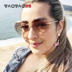 TAOTAOQI Luxus Sonnenbrille Frauen Designer Marke Mode Randlose Sonnenbrille Weibliche UV400 Vintage Brillen Oculos de sol