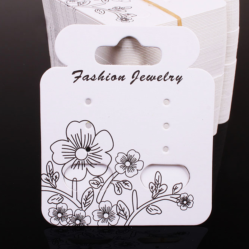 New Hot 4.9x5.7cm White Paper Jewelry Earring Card Display Cards 200Pcs/lot Jewelry Earring Cards Display Packaging H058